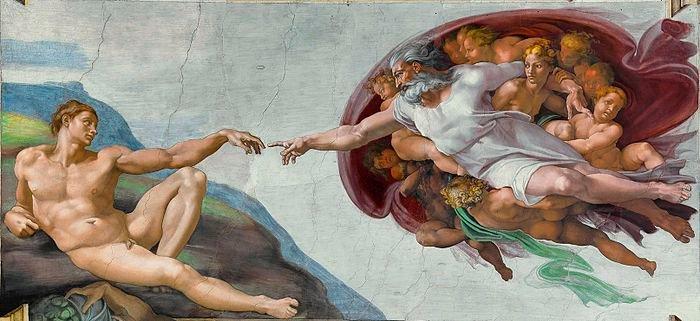 A criatividade - Deus tocando Adão